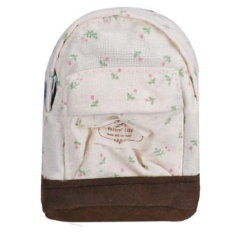 Canvas Mini Floral Backpack Women Girls Kids Cheap Coin Pouch White - Intl
