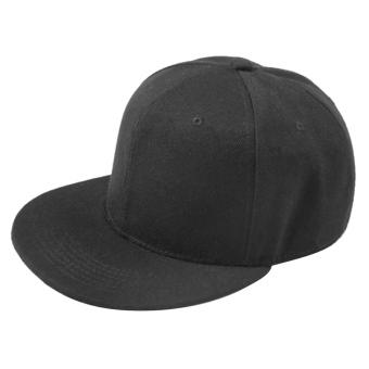 Unisex Polyester Cotton Adjustable Pure Color Plain Hiphop Sport Baseball Trucker Snapback Hat Cap Black - intl
