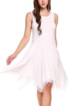 Cyber Women Sleeveless Lace Trimming Asymmetrical Dress ( White ) - intl