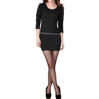 New Fashion Women OL Slim Dress Rhinestone Round Neck Long Sleeve Stretch Mini Dress (Black) - Intl