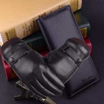 Bộ găng tay ví nam cao cấp (Đen)