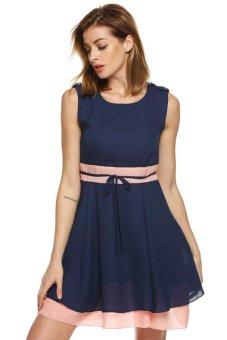 Cyber Finejo Women Casual Chiffon Dress High Waist Patchwork Pleated Sundress (Dark Blue) - intl