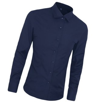 High Quality Autumn Fashion Men Clothes Slim Fit Men Long Sleeve Shirt Men Cotton Casual Men Shirt Social (Deep blue) - intl