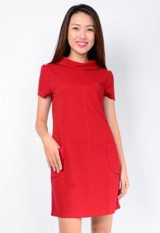 Đầm suông Túi cổ Bẻ Cách Điệu Aloha Fashion (Đỏ)