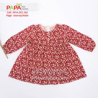 Đầm Hoa Đỏ Tay Dài Nhún Chun Papa Fashion
