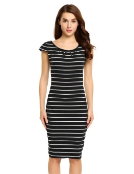 Cyber Women Casual Cap Sleeve Striped Back V-Neck Package Hip Pencil Dress With Belt ( Black ) - intl