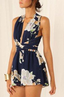 Linemart V-Neck Cross Bandage Floral Print Chiffon Club Mini Dress (Blue) - intl