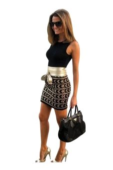 Women's print dress package hip stitching dress with belt Black TC - intl