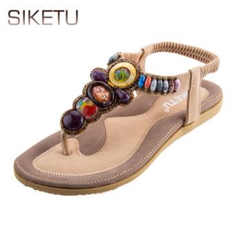 SIKETU Bohemia Beads Elastic Band Beach Flip-flop Sandals(Apricot) - intl