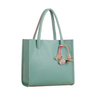 Fashion girls handbags leather shoulder bag candy color flowers totes Green - intl