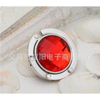 Móc treo túi xách, treo đồ tiện lợi trên mọi mặt phẳng hình tron kim cương (Đỏ)