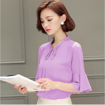 Áo Cổ Bèo Tay Loe (M,L,XL) - K63 - ( Tím cà) Bui Nguyen