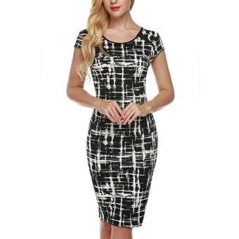 Linemart ANGVNS Women Cap Sleeve Print Casual Party Slim Fit Bodycon Midi Pencil Dress ( Black ) - intl