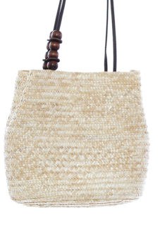 LALANG Chic Straw Woven Bags Women Retro Wooden Beads Beige