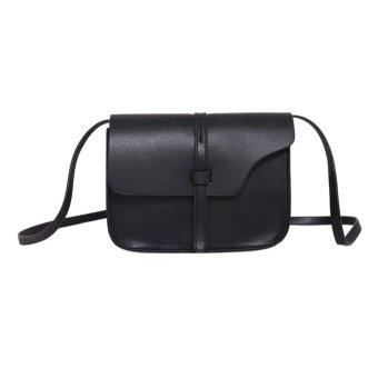Women Leather Messenger Shoulder Bag (Black) - intl