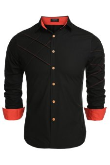 Cyber COOFANDY Men Long Sleeve Turn Down Neck Pure Color Loose Tops Casual Loose Cotton Button Down Shirts(Black) - intl