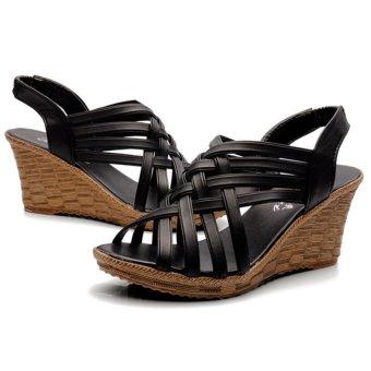 Moonar Cross Band Heel Sandals (Black)