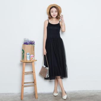 Đầm dài hai dây dáng suông cổ tròn phối ren lưới xòe nữ tính thời trang dạo phố bộ đồ Hàn Quốc Urban Horizon FM0018 (Đen)