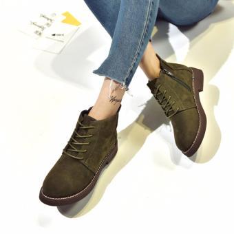 Giày Boot Nữ Cột Dây Khóa Kéo Msp 2780 (Xanh rêu)