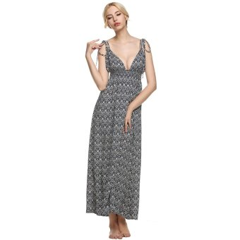 Cyber Zeagoo Sexy Women Deep V-Neck Empire Waist Backless Print Maxi Long Dress - Intl