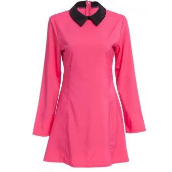 Women Mini Dress A-Line Peter Pan Collar (Rose Red) - Intl