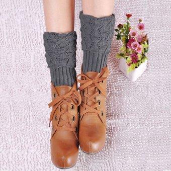 Women Winter Warm Crochet Knitted Boot Socks Cuffs Liner Leg Warmers Leggings - intl
