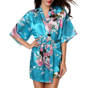 Moonar Sexy Women Silk Print Kimono Gown Half Sleeve Sleepwear Cardigan Bath Robe ( Lake Blue ) - intl