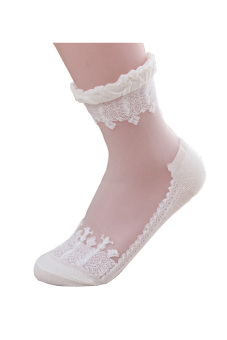 Ultrathin Transparent Beautiful Crystal Lace Elastic Short Socks (White) - intl