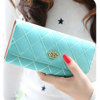 Lady Women Clutch Long Purse Leather Wallet Card Holder Handbag Bags Sky Blue