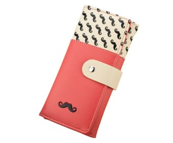 niceEshop Women Moustache Pattern PU Leather Handbag Long Purse