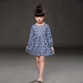 Fashion Baby Girls Kids Polka Dot Printed Long Sleeve Party Dress Blue - intl