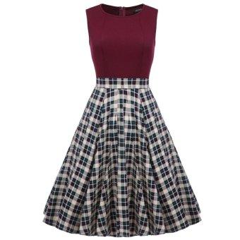 Linemart ACEVOG Women 1950s Vintage Style Retro Sleeveless Plaid Patchwork A-line Cocktail Party Midi Dress ( Dark Red ) - intl