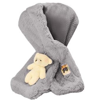 Cute Bear Winter Kids Children Boys Girls Baby Neck Warmer Scarf Faux Rabbit Fur Grey - intl