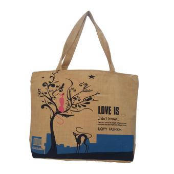 Túi Vải Tote Họa Tiết Xinh Store Love Is Nâu Xinh Store