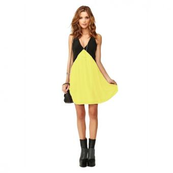Women Deep V Chiffon Mini Dress (Yellow) - Intl