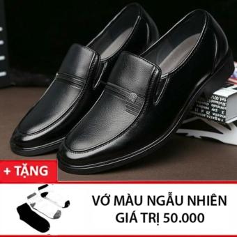 Giày tây da nam Rozalo RMG7012B-Đen + tặng đôi tất màu ngẫu nhiên