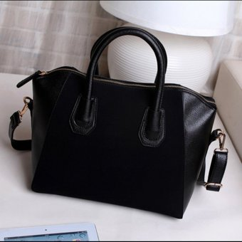 Women Lady Leather Shoulder Bag Tote Purse Handbag Messenger Cross Body Satchel Black - intl