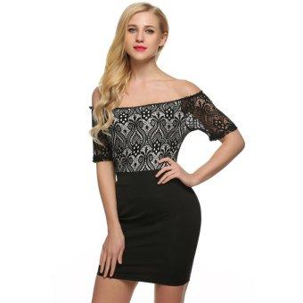 Cyber Zeagoo Women Casual Boat Neck Short Sleeve Lace Patchwork Slim Bodycon Mini Dress (Black) - Intl
