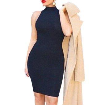 High Collar Hip Package Sleeveless Woman Dress (Black) - Intl - intl