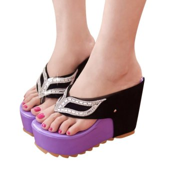 Women Fashion Summer Rhinestones Flat Flip Flops Sandals Loafers Bohemia Shoes - intl
