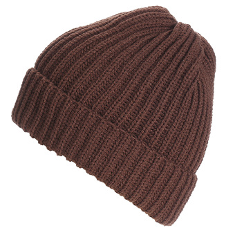 Unisex Solid Color Vertical Stripe Thick Beanie Knitted Warm Fall Winter Ski Cap Hat Coffee - intl