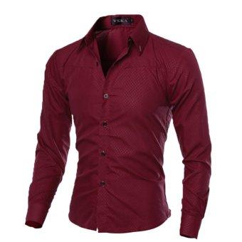 Mens Slim Long Sleeve Dress Shirts(Wine Red) - INTL