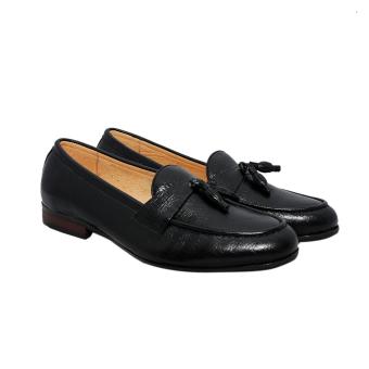 Giày nam da bò thật cao cấp màu đen ESM45 ELMI da thật