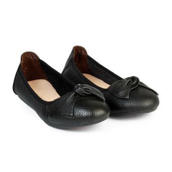 Giày Búp Bê Da Mũi Bầu Nơ Xoắn HC1366 (Đen)