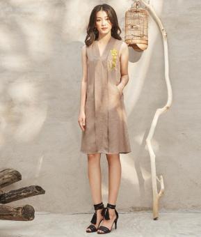Đầm Linen Floral Embroidered Dress - AD160036