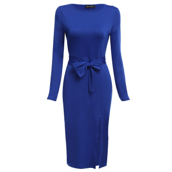 Women Sheath Sash Waist Elastic Slit Dress (Blue) - intl