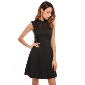 Linemart Women Casual Turndown Collar Sleeveless Sexy Mesh Patchwork Solid Mini Dress ( Black ) - intl