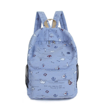 Fashion Cartoon Printing Women Canvas Backpack Schoolbag Dark Blue