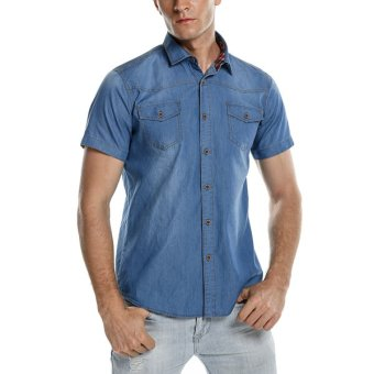 Cyber Coofandy Men Fashion Slim Fit Short Sleeve Demin Style Dual Pockets Button Down Casual Shirts - Intl - Intl