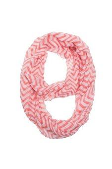 Chevron Zig Zag Double Loop Sheer Scarf (Pink) - Intl